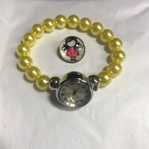 Jewelry - Yellow faux pearl watch snap button bracelet